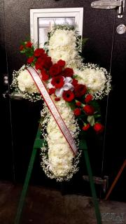 White Cross with Red Accents