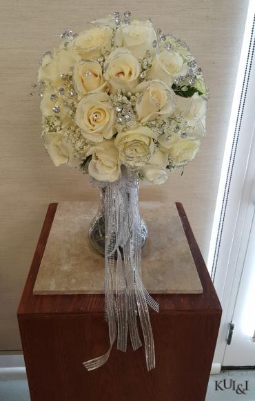 White with Silver Glitter Wedding Bouquet