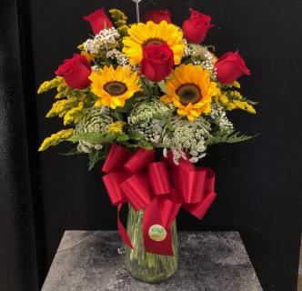 Rose & Sunflower Vase Arrangement