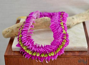Purple & Green Flat Lei