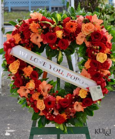 Orange & Red Sympathy Open Heart Wreath