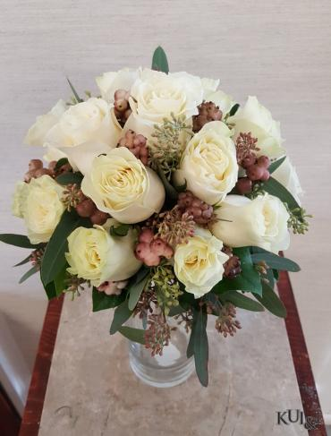 White Bouquet Accented with Burgundy