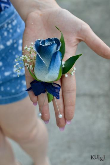 Blue-Tinted Rose Boutonniere