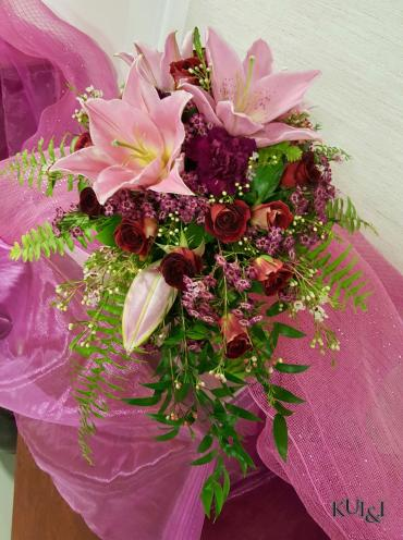 Pink & Maroon Cascading Wedding Bouquet