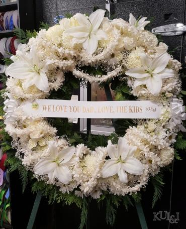 White Circle Wreath with Tuberose Leis