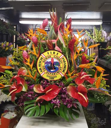 "Custom Tropical ""Hawaii Fire Chiefs Assoc.\"" Arrangement"