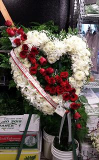 White Heart Wreath with Red Accents
