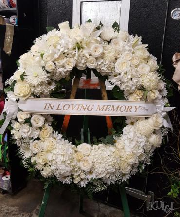 White Circle Sympathy Wreath