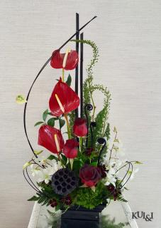 Ikebana Anthurium Arrangement