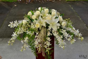 White Glittered Head Table Centerpiece