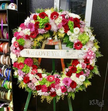 Pink, Red & Green Circle Wreath