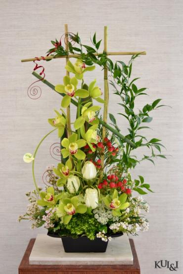 Green Cymbidium Arrangement
