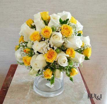 White & Yellow Wedding Bouquet