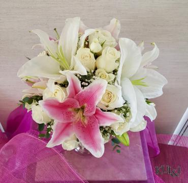 White & Pink Wedding Bouquet