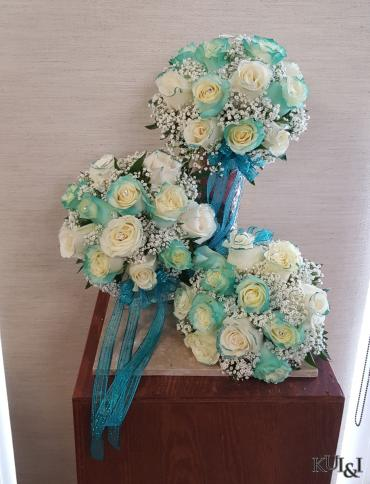White & Tiffany Blue Bouquets
