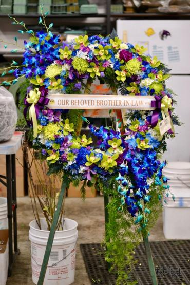 Blue and Green Sympathy Wreath