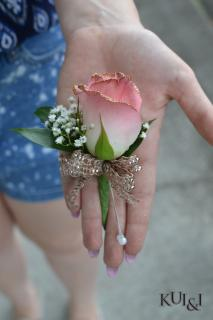 Light Pink Tipped Rose Boutonniere