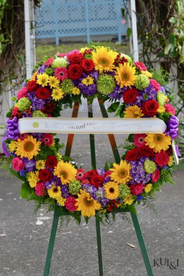Colorful Sympathy Round Wreath