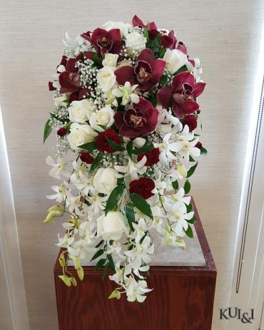 White & Burgundy Cascading Bouquet