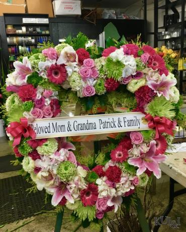 White, Green & Pink Heart Wreath