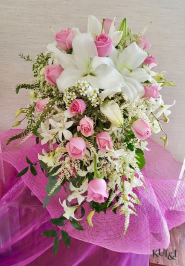 White & Pink Cascading Wedding Bouquet
