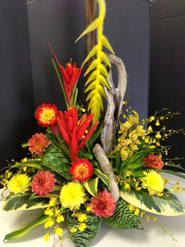 Stylized Tropical Arrangement with sticks and woods