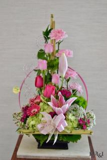 Pink Ikebana Arrangement