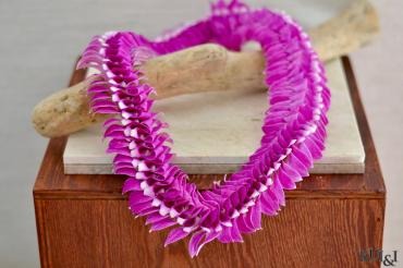 Purple & White Orchid Flat Lei