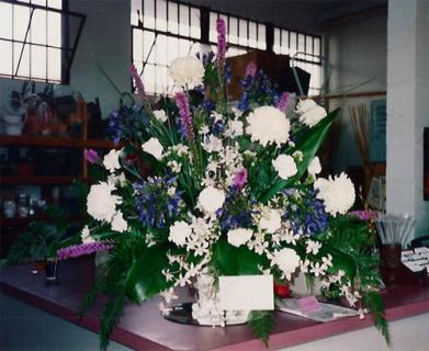 Funeral Arrangement with mums and other flowers