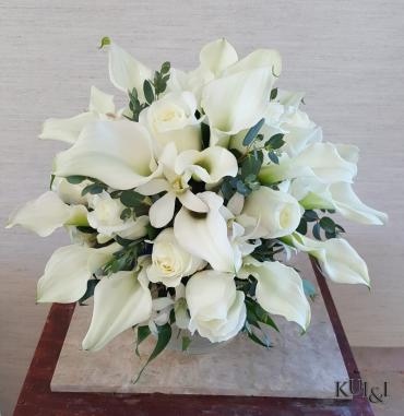 White with Various Greens Wedding Bouquet