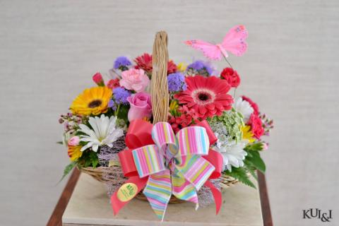 Colorful Spring Basket Arrangement