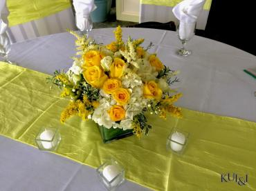 Yellow Cube Centerpiece