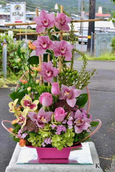 Stylized Ikebana Cymbidium Arrangement