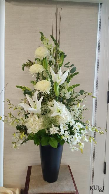 Large White Stylized Sympathy Arrangement