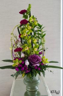 Stunning Green & Purple Stylized Arrangement